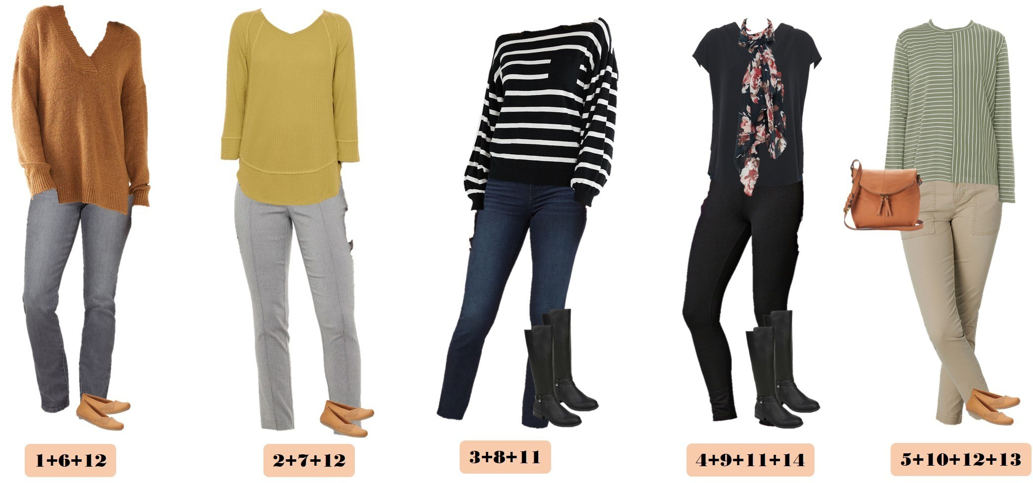 mix and match winter capsule wardrobe from Kohls - 5 winter outfits