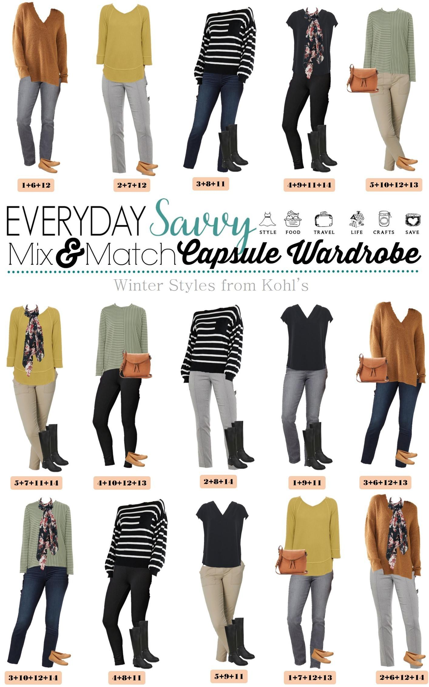 mix and match winter capsule wardrobe from Kohls - 15 winter outfits