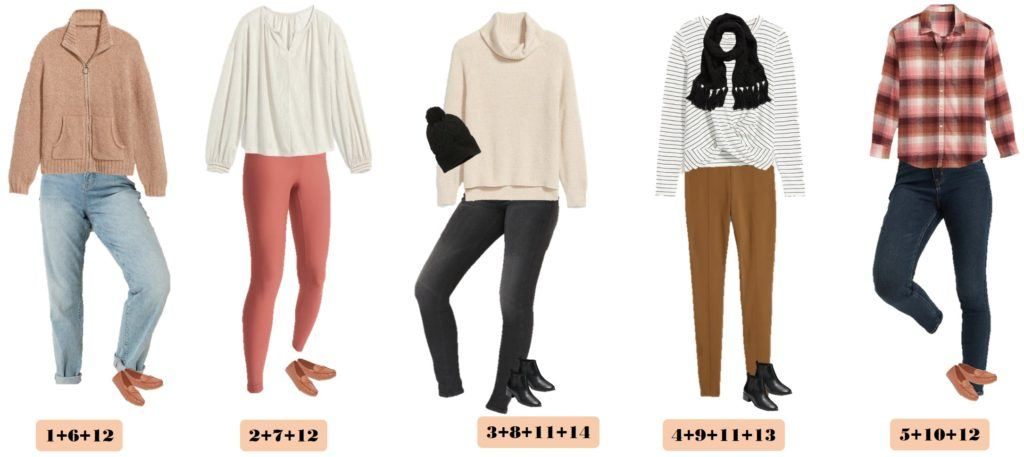 5 cozy winter outfits - blush sweater, jeans, winter shite sweater and jeggings