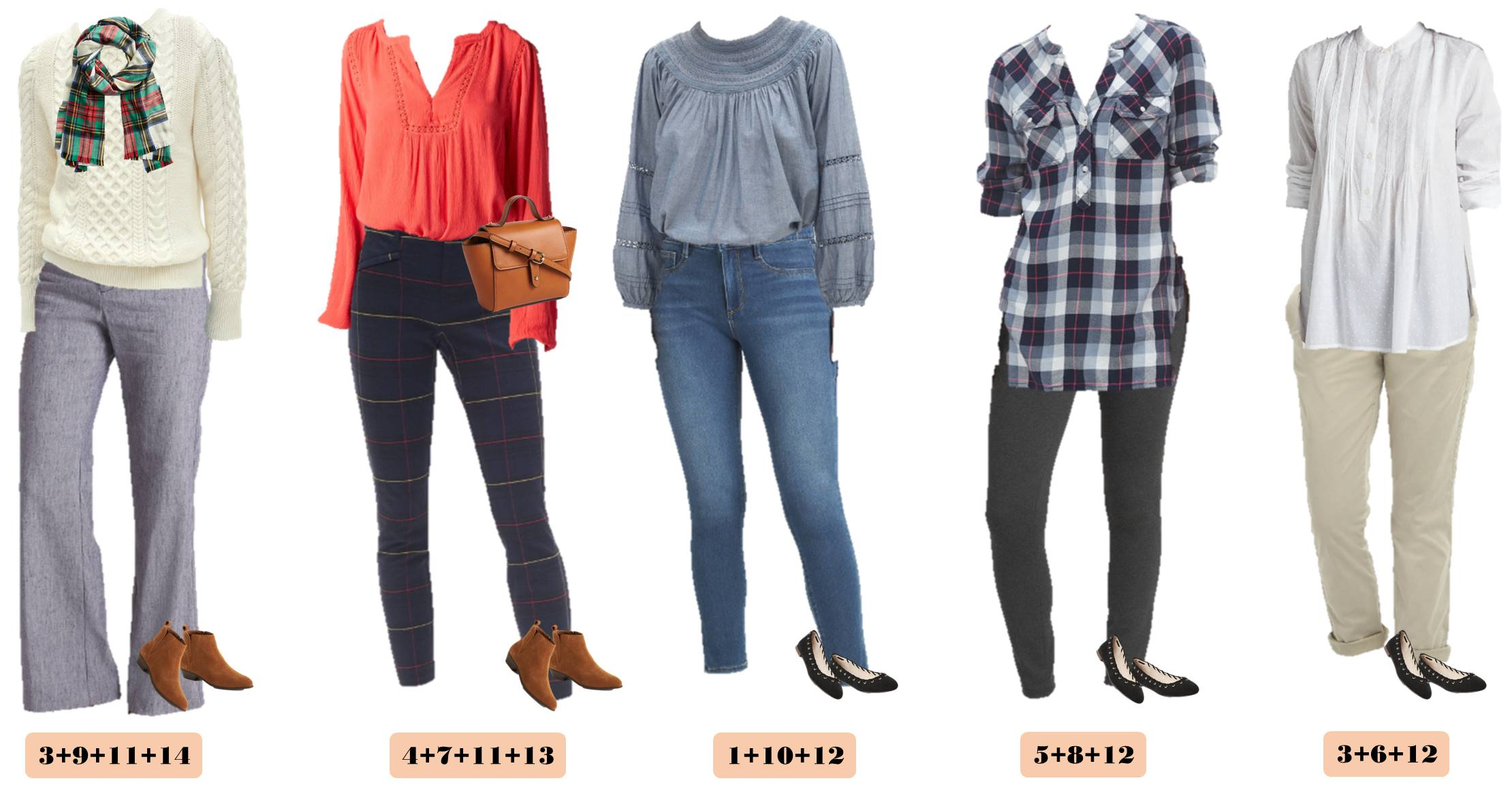 casual cute fall outfits that transition to winter - chambray, plaid and comfy sweater