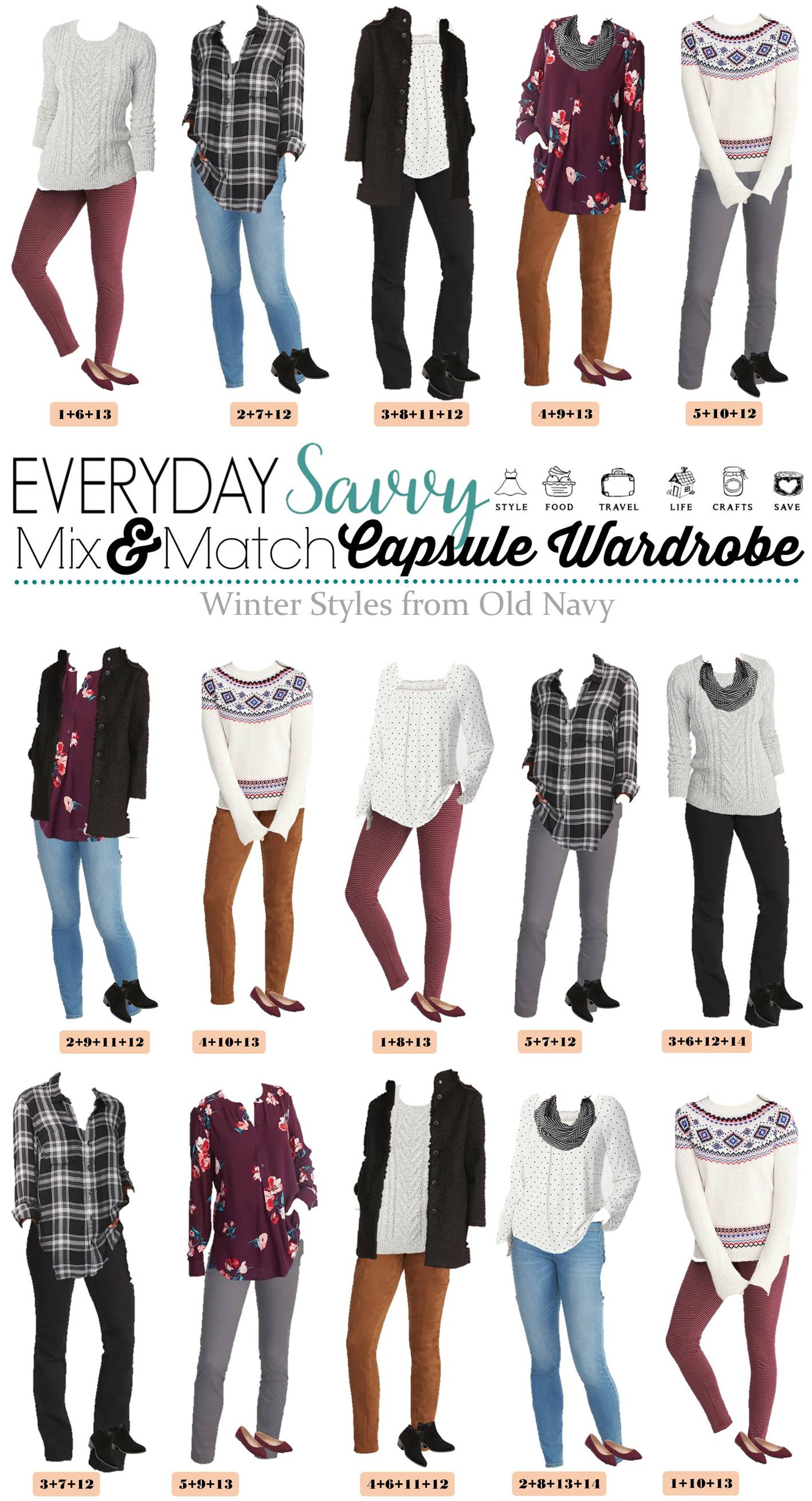 mix match cute winter outfits from old navy mini capsule wardrobe