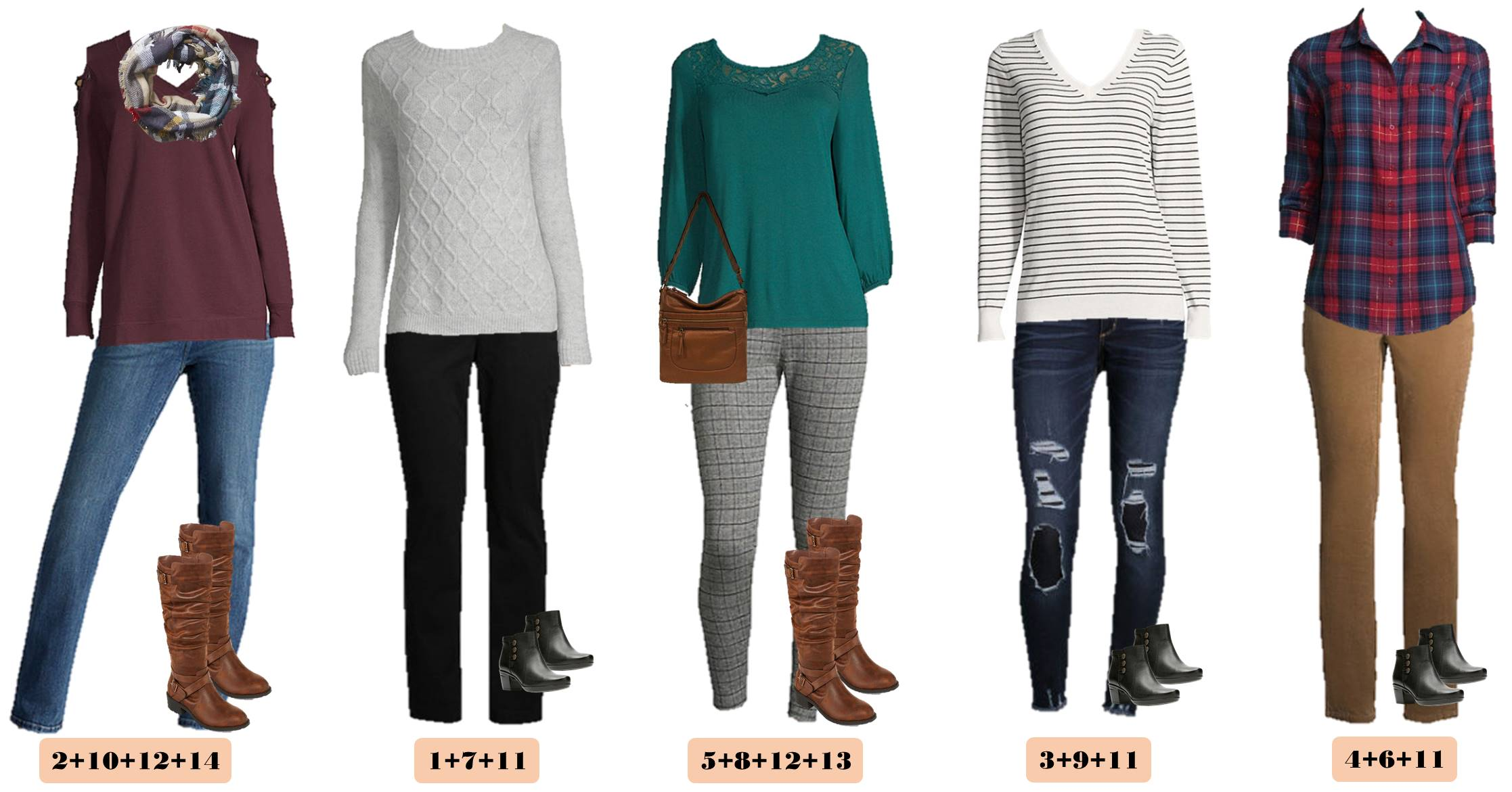 fall casual outfits - sweaters, plaids, leggings, jeans