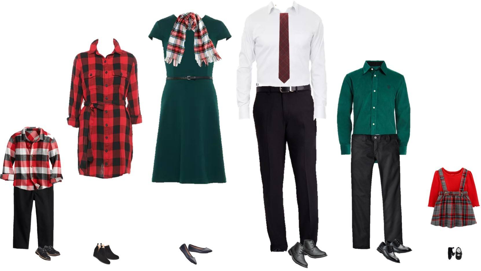 Dressy Family Christmas Outfits - green dress, buffalo plaid, green shirt black pants, plaid jumper.