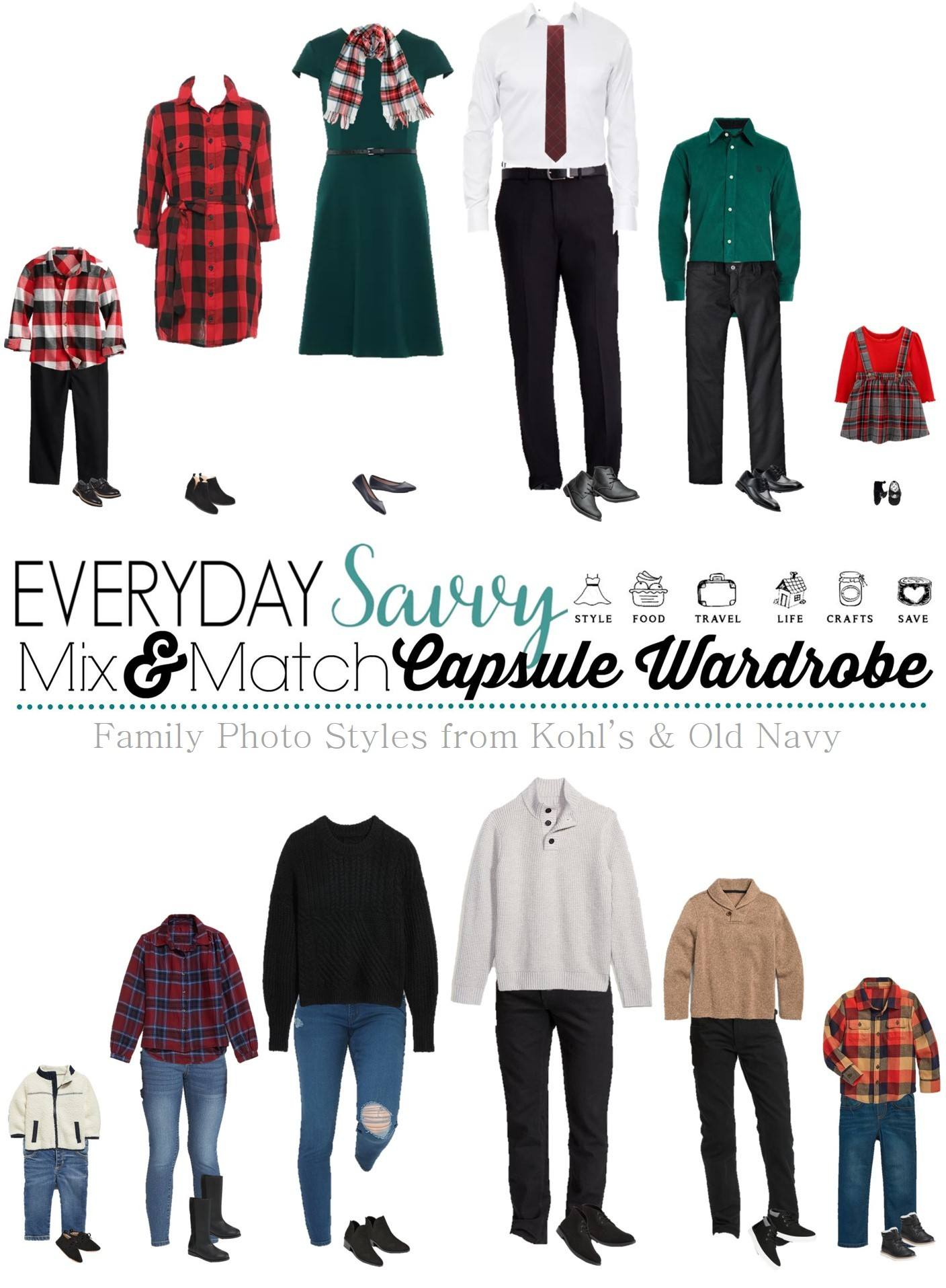 family photo outfits - christmas themed and casual