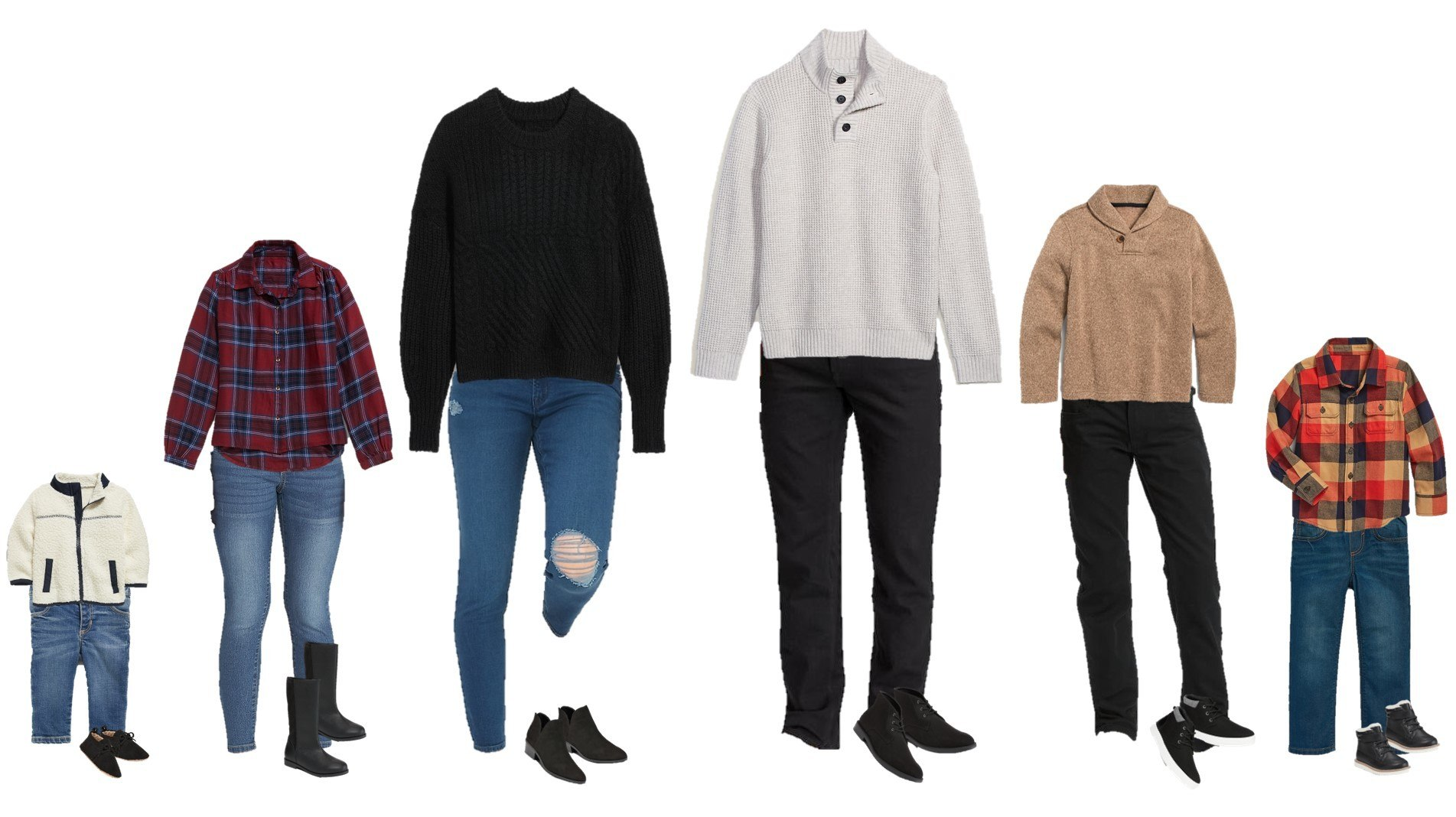 Casual Family Holiday Outfits - plaid shirts, sweaters and jeans