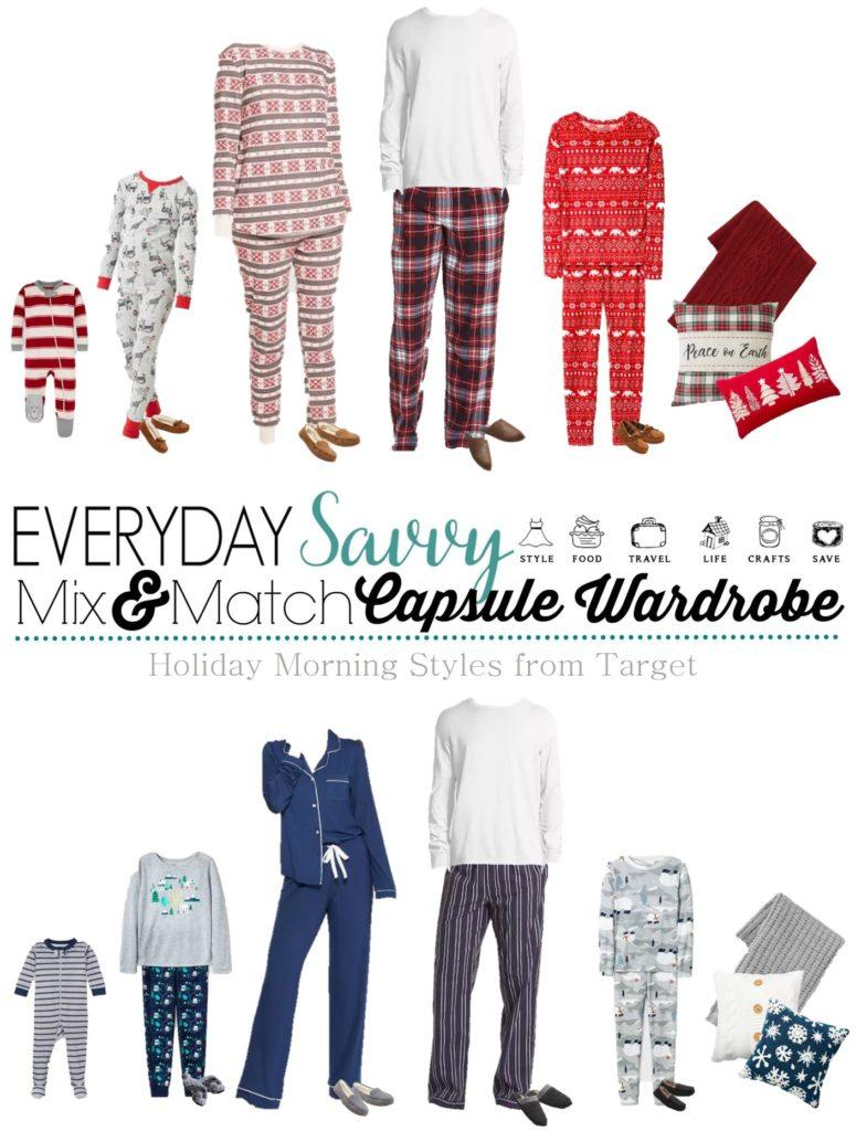 Family Holiday Pajamas & Family Christmas Pajamas - one set of red and green and one set of blue and white