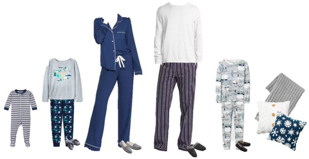 family holiday pajamas - blue patterns, snow, stripes and piping