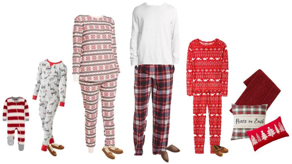 family christmas pajamas red green patterned pajamas. plaid and stripes