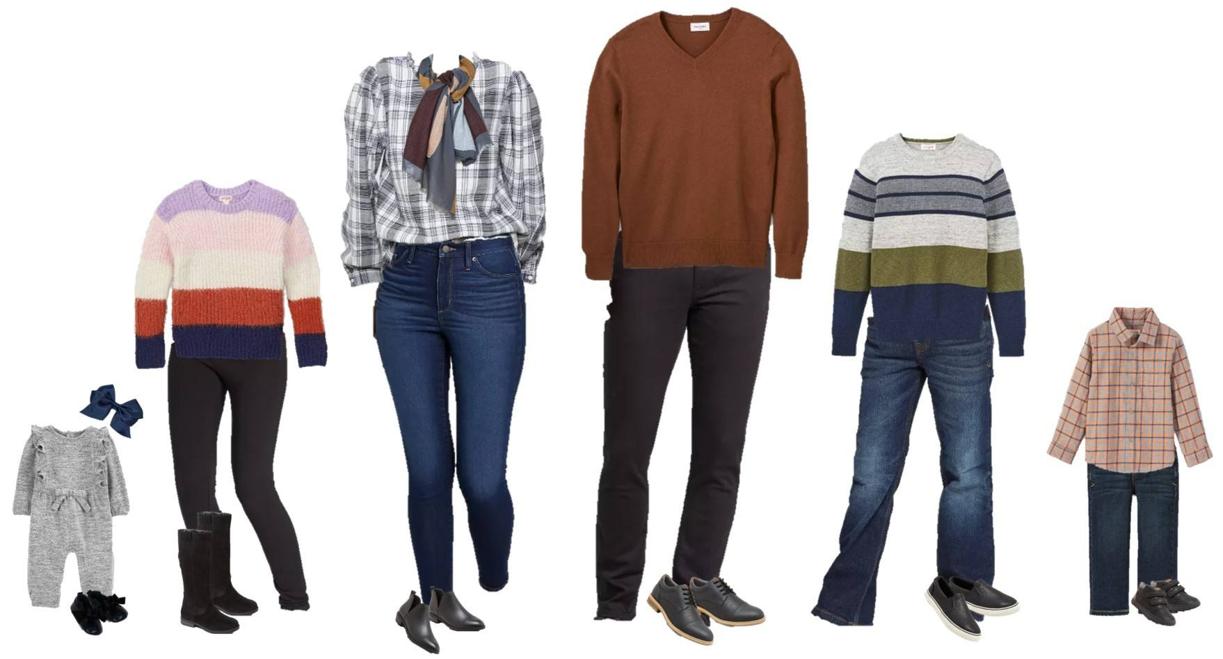 casual coordinated family outfits - plaid tops, sweaters and jeans
