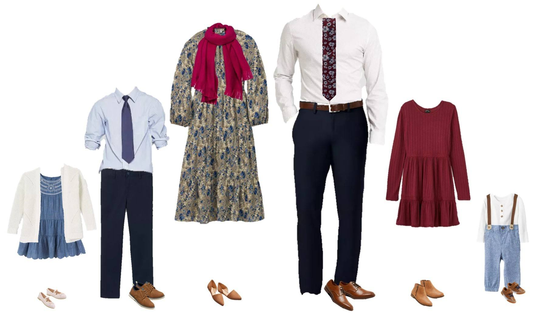 family holiday photo outfits - blue, burgundy and white theme