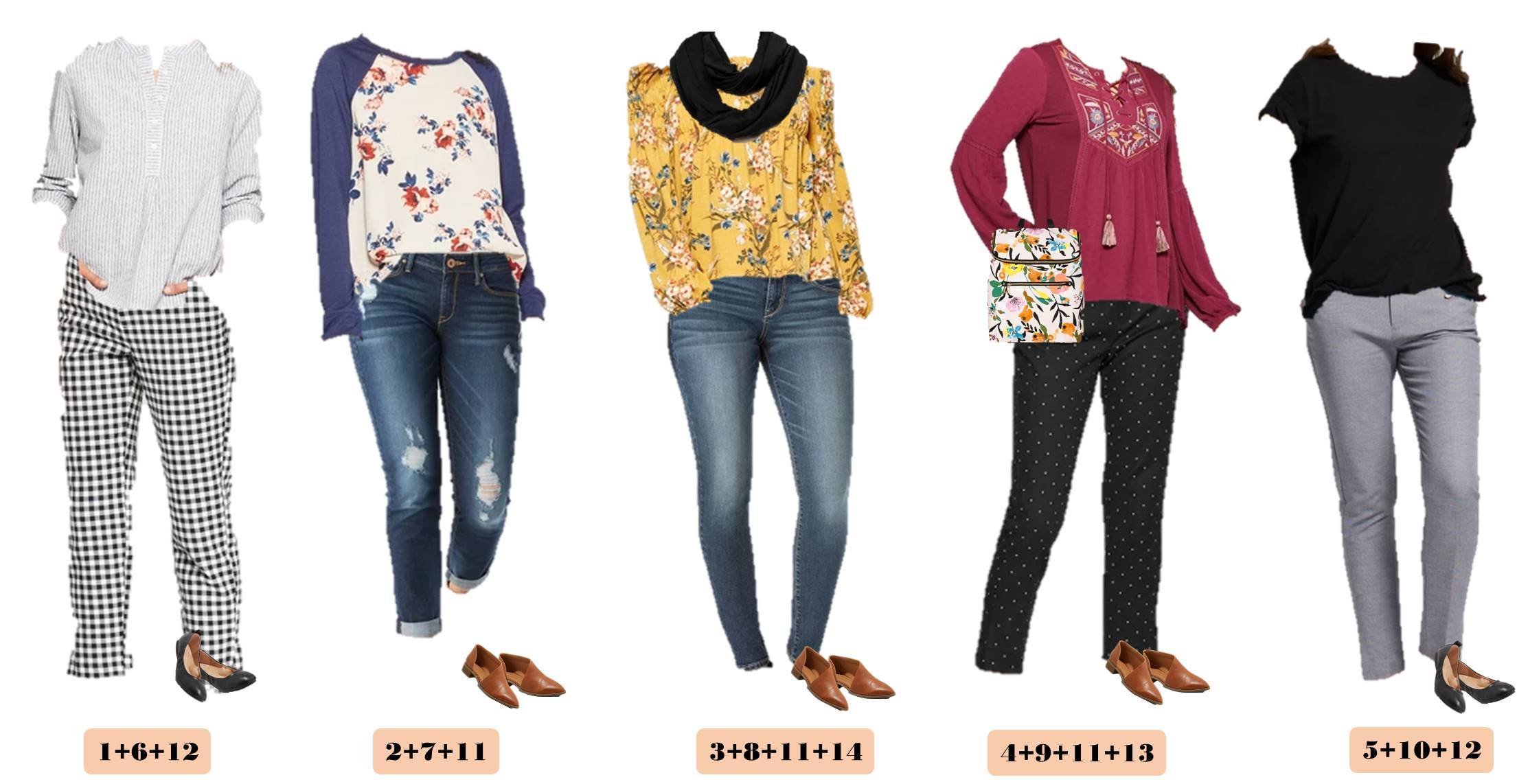 early spring floral tops, checked pants, jeans