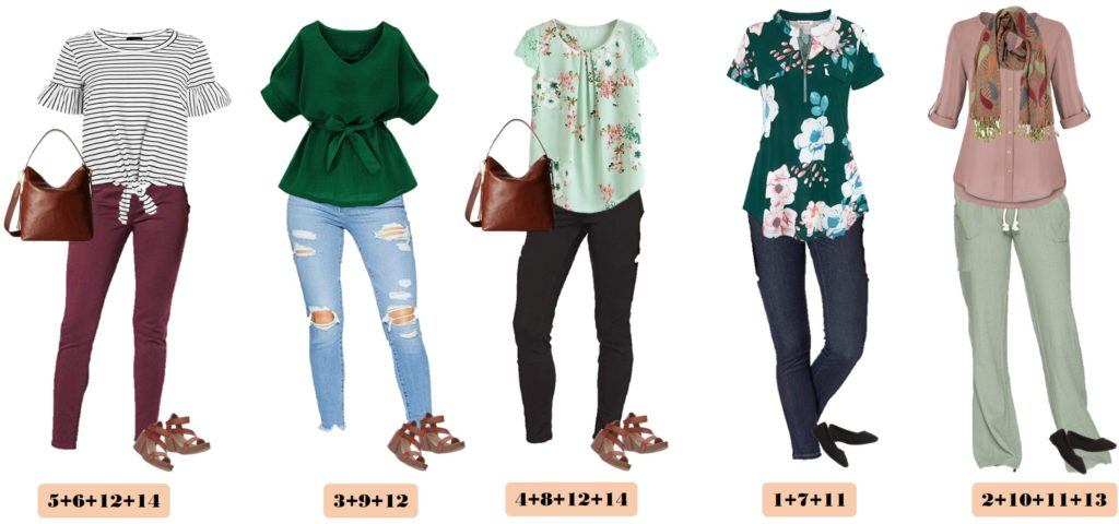 cute spring outfits with green floral tops