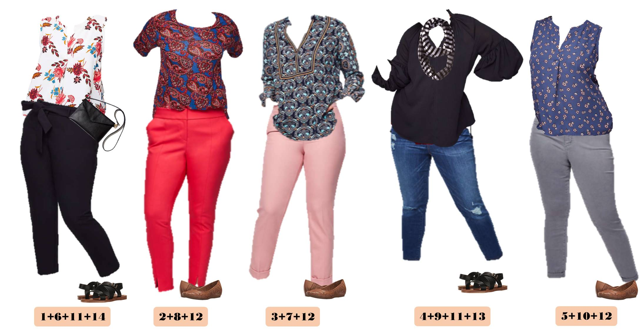 5 mix and match Loft Plus Size Outfits. Pink pants and floral tops.
