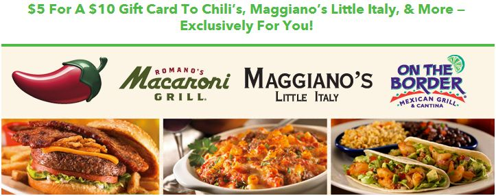 chilis on the border maggianos discounted gift card