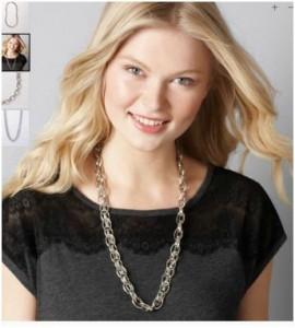 loft ann taylor chunky silver necklace sale discount