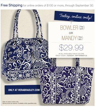 vera bradley mandy bowler sale free shipping