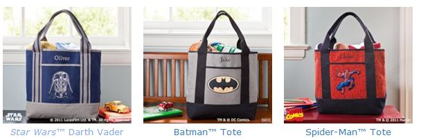 star wars bat man spiderman tote bag sale free shipping pottery barn kids
