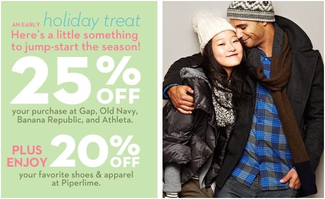 25% off coupon code athleta 20% off pipelime gap old navy