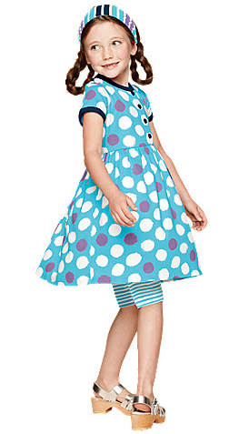 hanna andersson play dress girl polka dot blue