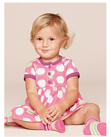 hanna andersson play dress baby pink polk dot