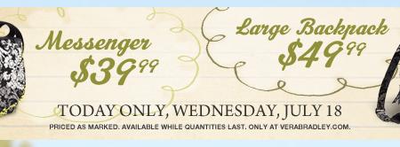 vera bradley backpack messenger bag sale discount coupon code extra off