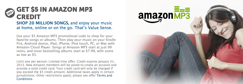 $5 free mp3 music credit coupon amazon