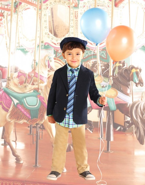 Childrens Place Young Boys Pinstripe Jacket and Tie