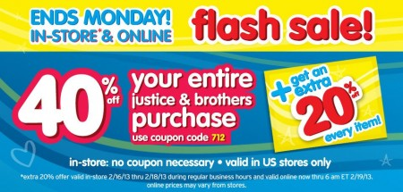 Justice Flash Sale February
