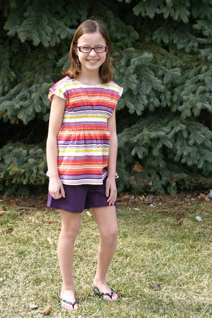tea smocked stripe shirts and purple shorts