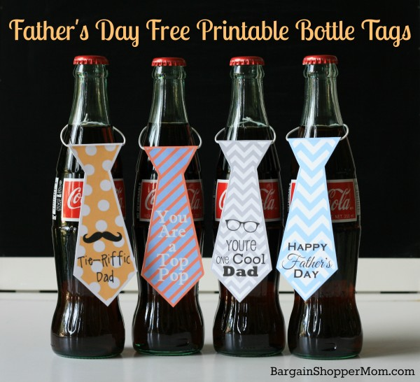 soda pop bottles with printable ties for Father's Day gift