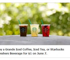 starbucks coupon $1 iced coffee