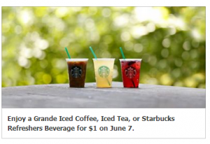 starbucks coupon $1 iced coffee