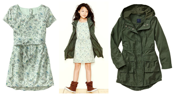 Gap Back to School Floral Dress and Cool Parka