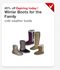 40off boots Target coupon