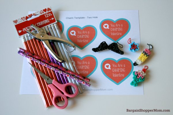 Easy DIY Rainbow Loom Charm Valentines with Free Printables. Easy to make and fun for kids!