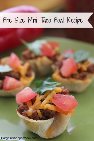 bite size mini taco bowl recipe - great party appetizer recipe