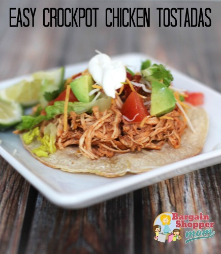 Want an easy recipe the whole family will love? Check out this crock pot chicken tostadas recipe. So easy to make with a slow cooker.