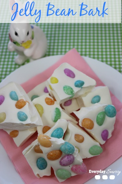 Jelly Bean Bark Recipe - So easy and cute. Perfect dessert for Easter or bag it up and gift as cute gifts or favors. EverydaySavvy.com