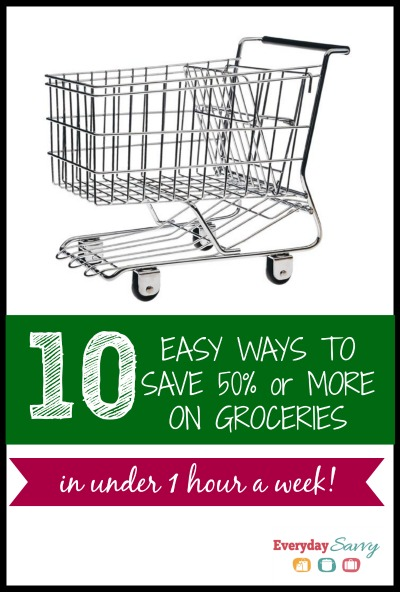10 easy ways save money on groceries. This is more than just coupons it includes meal planning and stockpiling items when on sale.