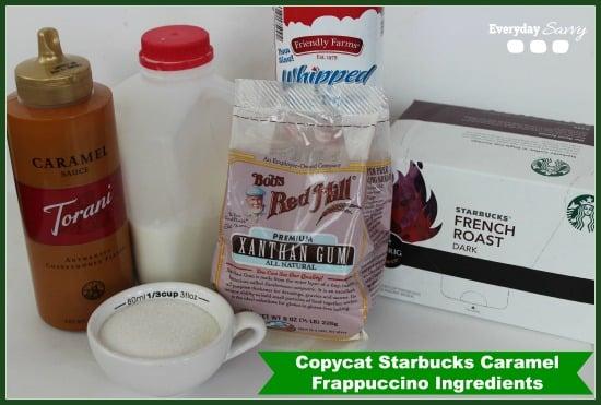 ingredients to make caramel frappuccino - caramel sauce, kcup, whipped cream, xanthan gum, sugar