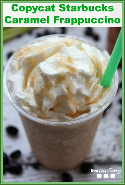 Copycat Starbucks Caramel Frappuccino Recipe - Love Starbucks but not the price? Then check out this copycat Starbucks Caramel Homemade Frappuccino Recipe. Easy DIY treat