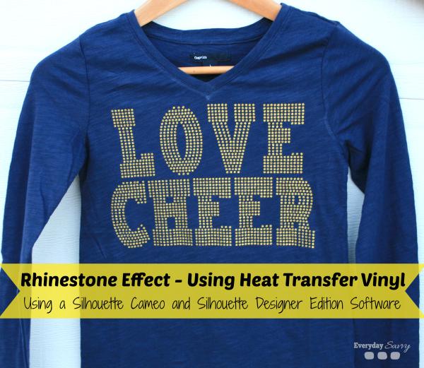Silhouette Cameo Rhinestone Effect Using Glitter Heat Transfer Vinyl EverydaySavvy.com