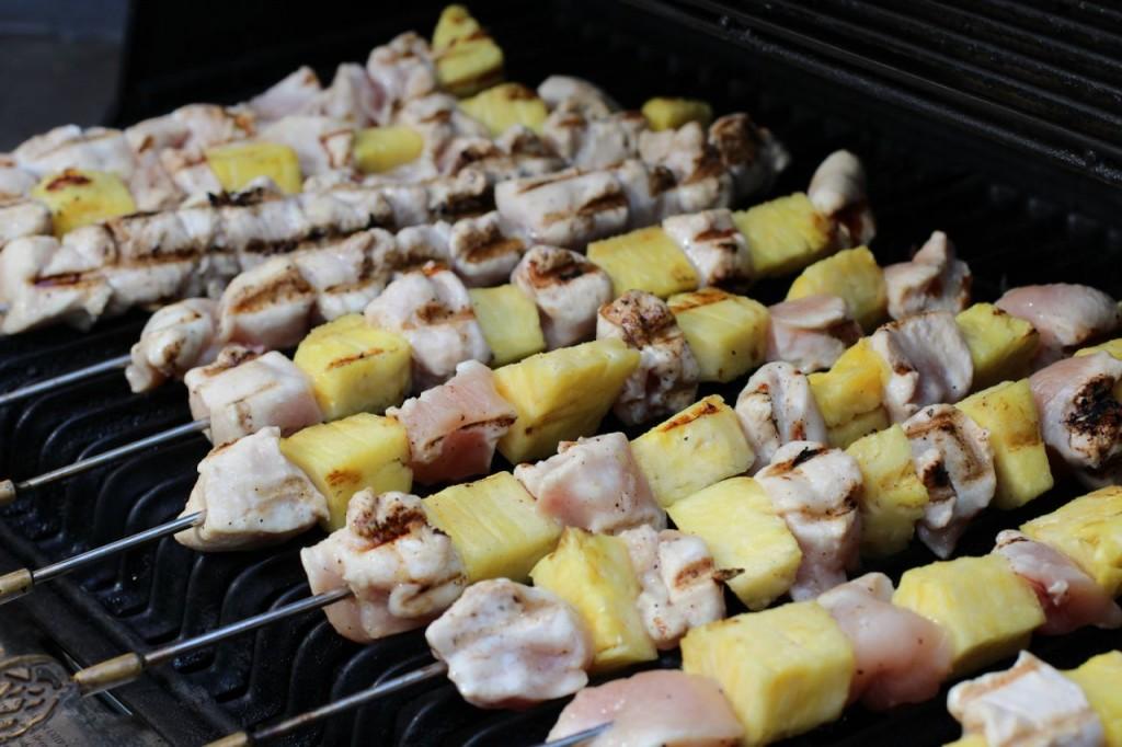 chicken skewers cooking