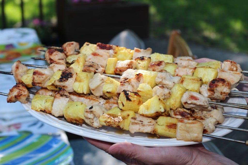 chicken kebobs on platter