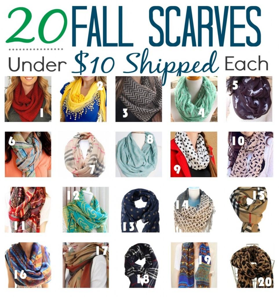 20 Fall Scarves  under $10 shipped