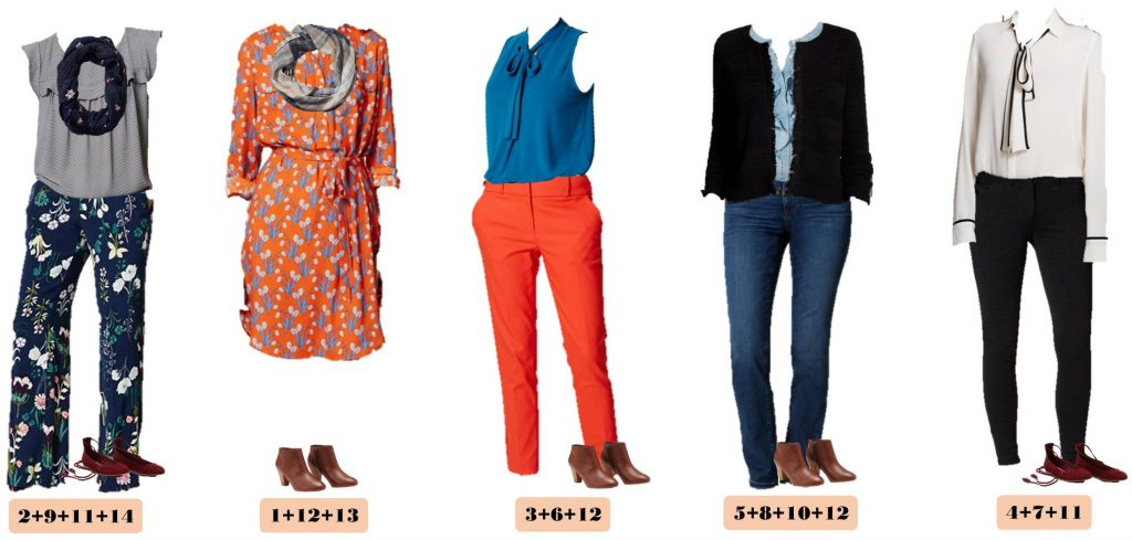 Mix and Match Fall Outfits from the Loft with bright orange, blues and floral. These pieces mix and match to make 15 fall outfits from Loft. These are great for moms on the go or a business casual office.