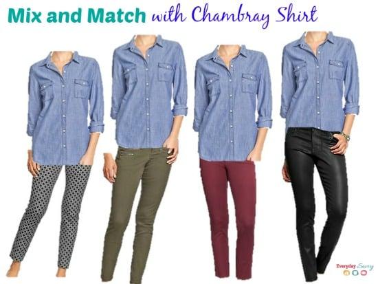 chambray shirt outfits mix and match