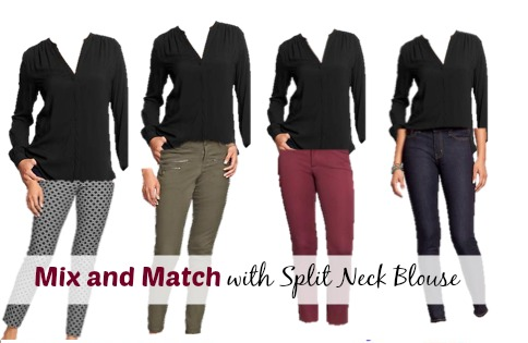 mix and match with split neck blouse