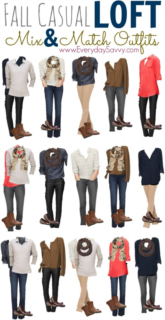 15 Fall Casual Mix and Match Outfits from Loft  with booties and coated jeans