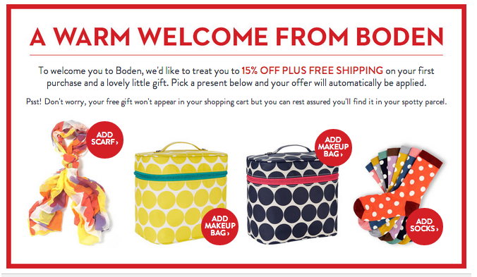 boden free item coupon fro new cutomers